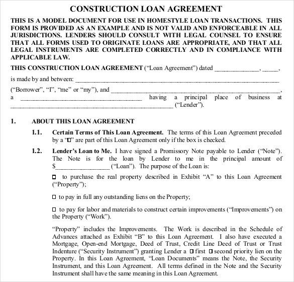 Construction Loan Contract Template Free   Great Loan Agreement