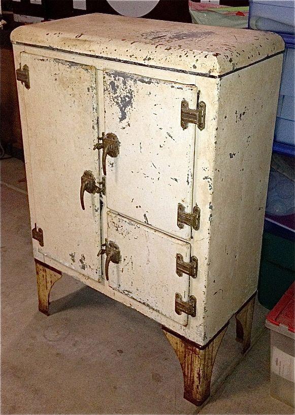 Vintage Ice Box Armoire Metallique Meuble Vintage Armoire De