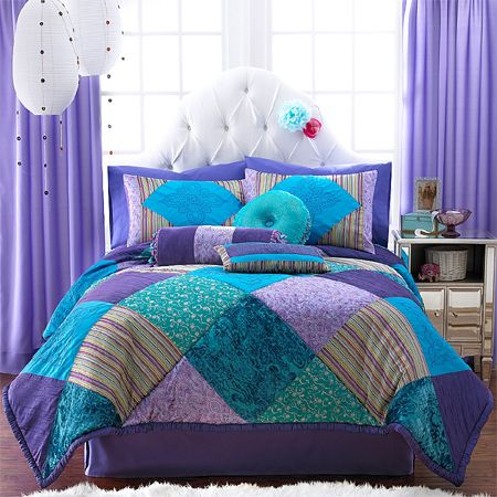 teal and purple bed in a bag | ... kids teen duvet bedding jewel
