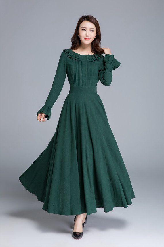 Green linen dress, long sleeve dress, maxi dress, spring dress, elegant dress, prom dress, fit and flare dress, ladies dresses 1651#