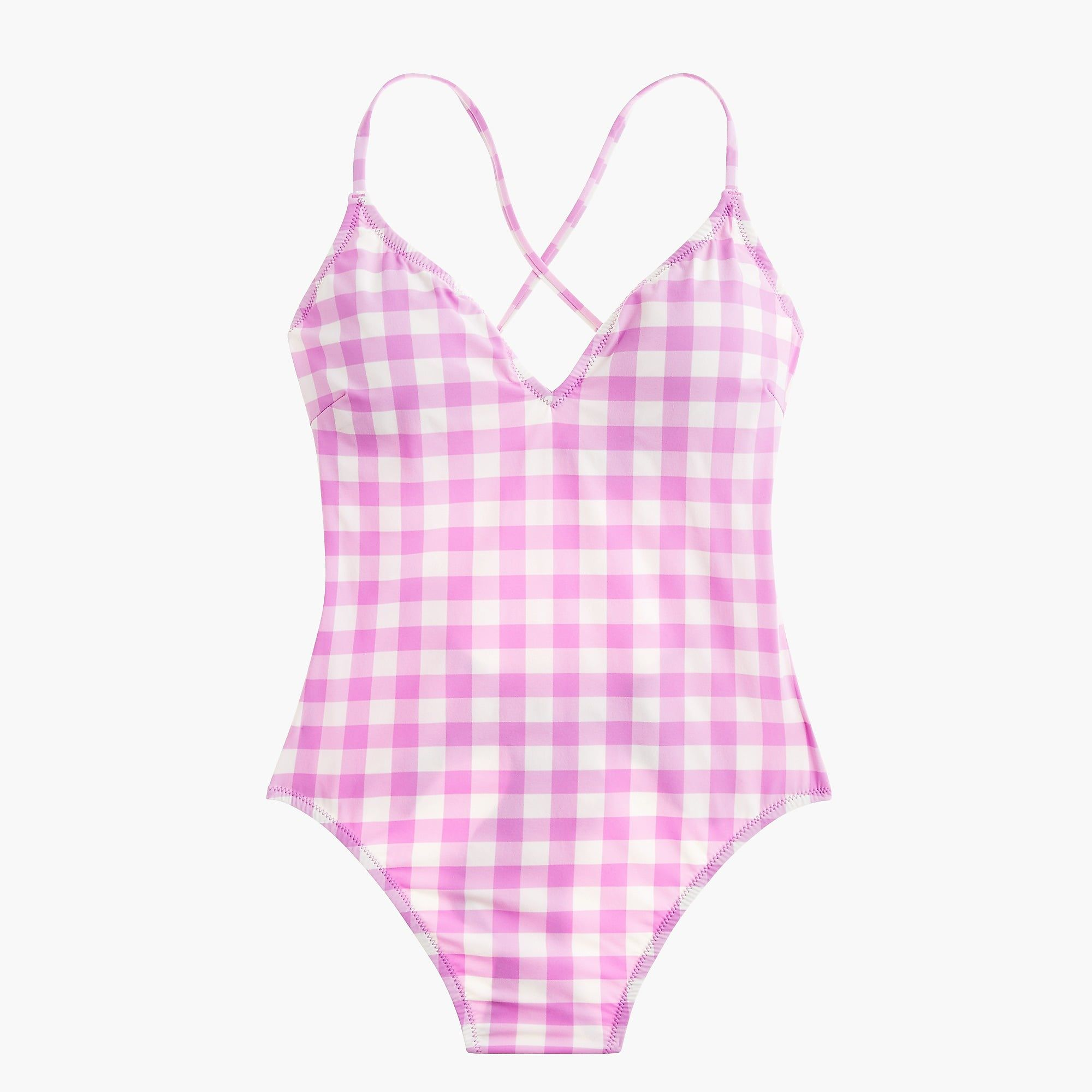 60f2611f348ff Shop the Lace-up back one-piece swimsuit in oversized matte gingham at J
