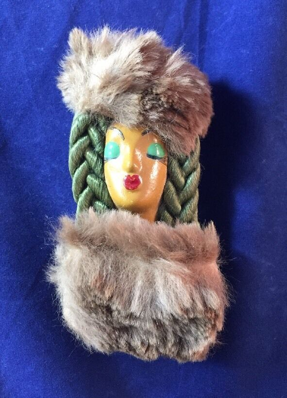 Beautiful Vintage Elzac Victim Of Fashion Lady Face With Braid And Fur Brooch  | eBay