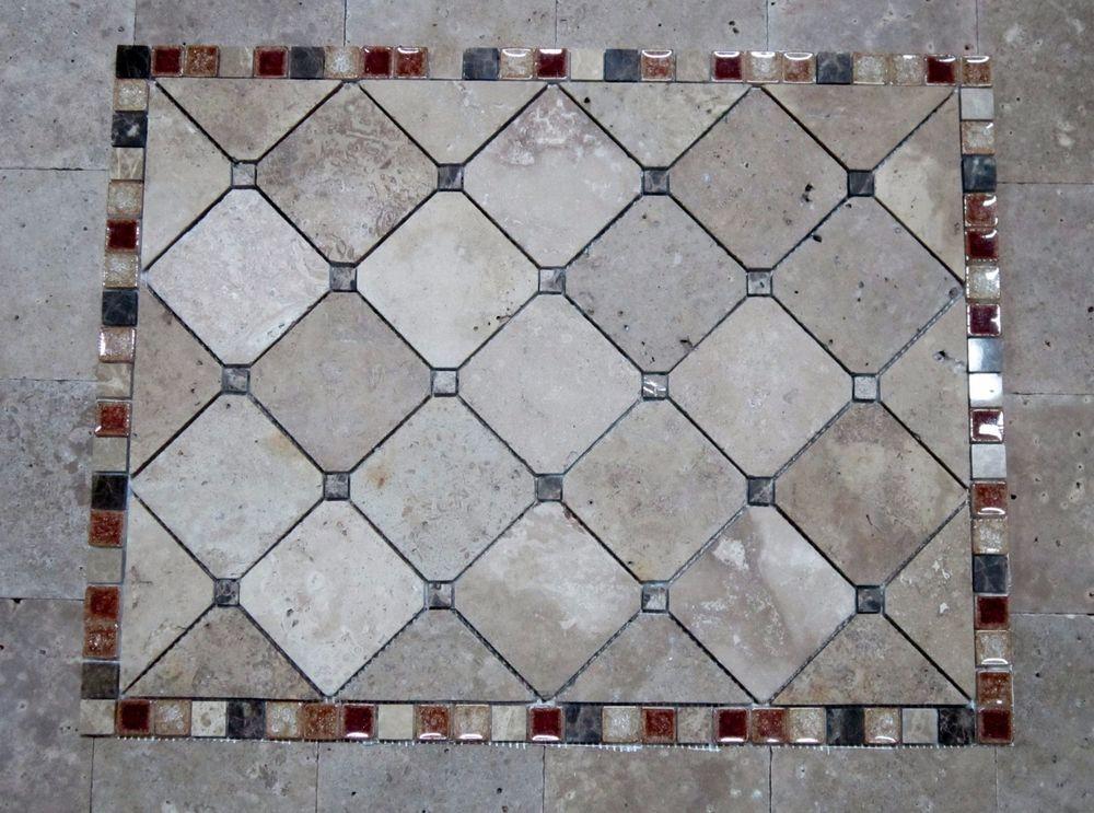 Travertine Gl Tile Mosaic Medallion For Kitchen Backsplash Floor Walls Shower
