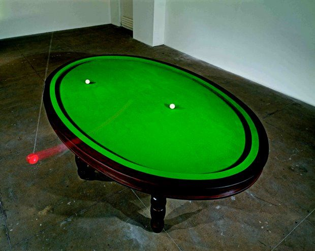 Gabriel Orozcos Oval Pool Table Has No Pockets And A Bright Red - Pool table no pockets