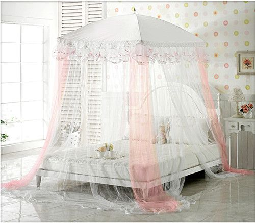 Mosquito Net Bed Canopy Pink Ribbon Princess Bedding Fits Twin
