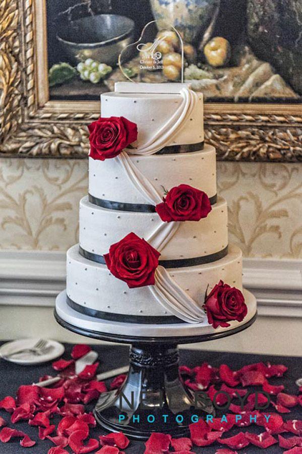 Red, White, U0026 Black Wedding Cake Ashley Cakes In Raleigh. Neil Boyd  Photography