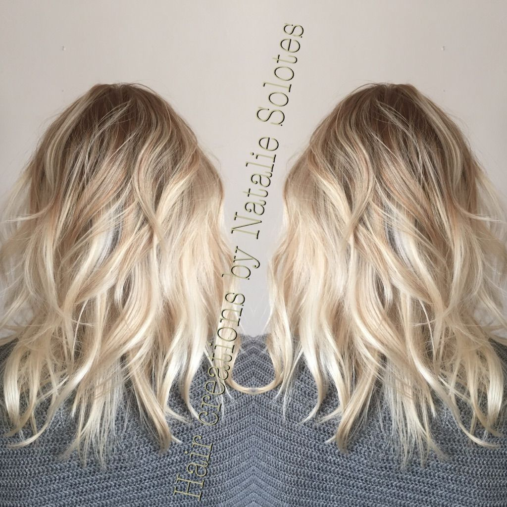 Baby Blonde Icy Balayage Colormelt Color Transition Rooted
