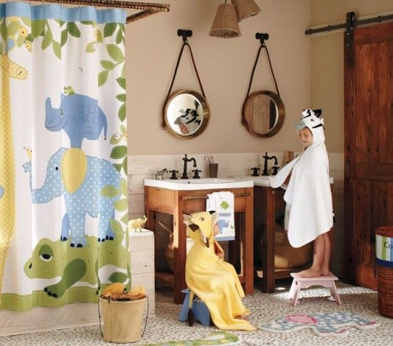 Safari themed bathroom ideas for kids shower curtains for Safari bathroom ideas