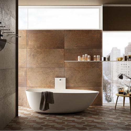 Carrelage effet rouille lamiera 2 salle de bain for Decor carrelage salle de bain