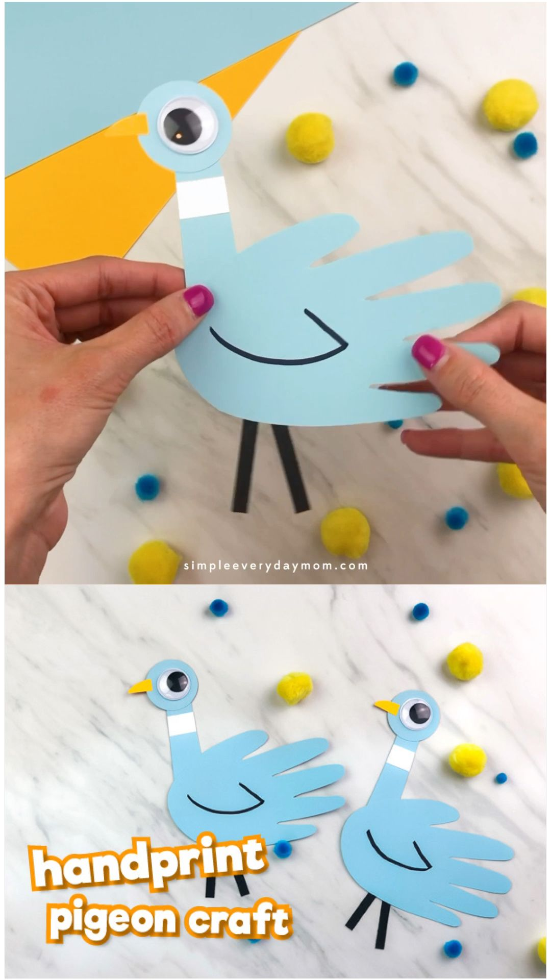 Handprint Pigeon Craft For Kids