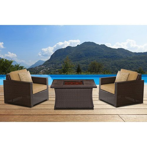 Hanover Metro3pc FP Set: 2 Deep Seating Side Chairs, Woven Fire Pit Coffee Table