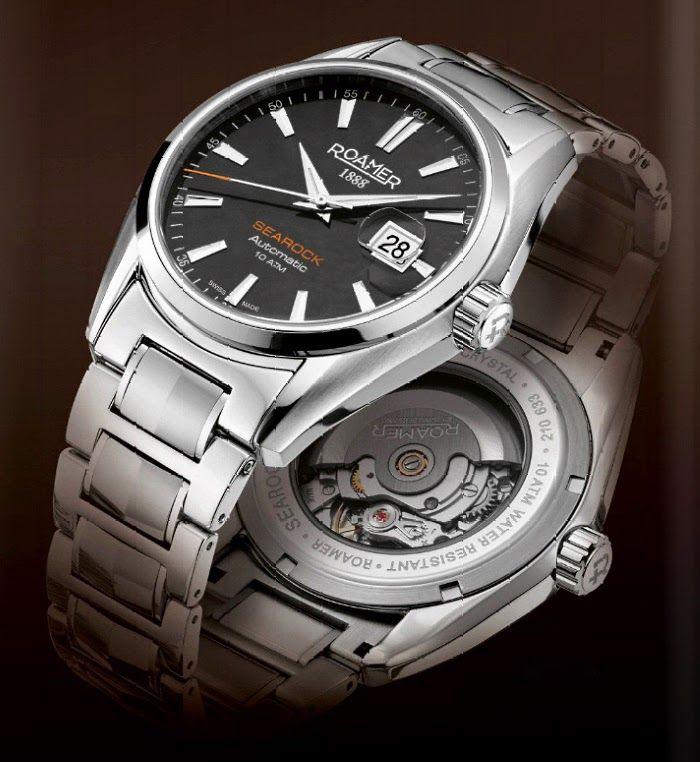 a0f9f35c0cf  roamerwatch  watch  zegarek  silver  black  waterresistant  searock   automatic  butikiswiss