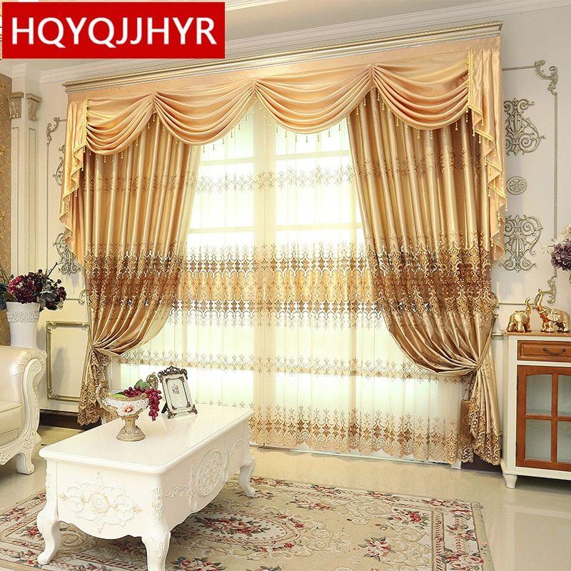 Custom Made European Classic Luxury Embroidery Curtains For Living Room Hotel Window Curtain Bedroom Window Curtain Kitchen Custom Made Euro Ruang Keluarga