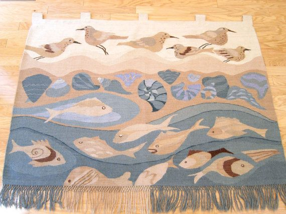 Textile Wall Art huge danish modern tapestry / textile wall art hanging / wool