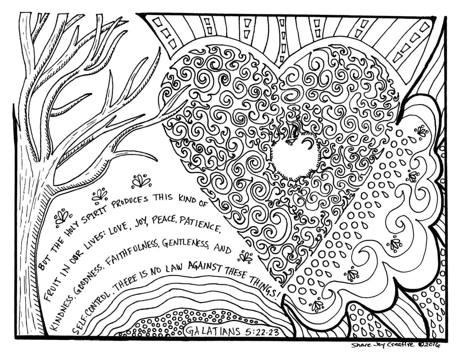 The Fruit Of The Holy Spirit Coloring Page By Sharejoycreative On
