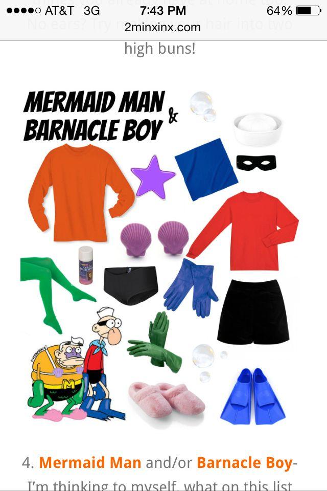 Mermaid Man And Barnacle Boy Two Person Halloween Costumes Halloween Costumes Plus Size Mermaid Man