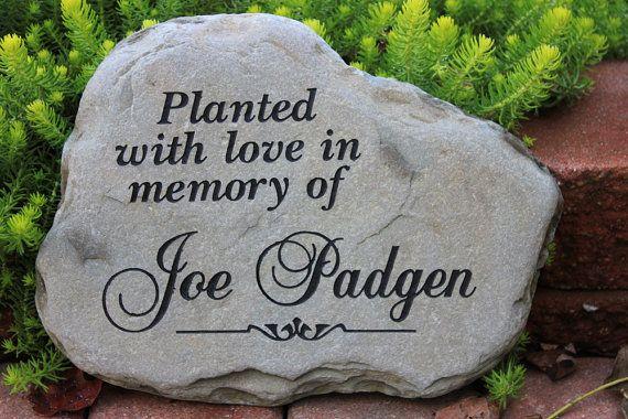 Hand engraved rock custom memorial stone for Garden memorials for loved ones
