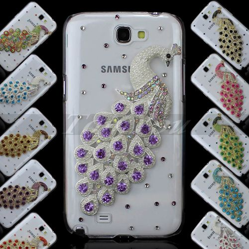 size 40 47d7d f9c15 Clear for Samsung Galaxy Note II 2 N7100 Hard Case Cover Bling 3D ...