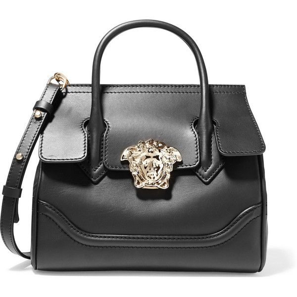 267ede92b Versace Leather shoulder bag ($2,315) ❤ liked on Polyvore featuring bags,  handbags, shoulder bags, black, genuine leather handbags, tablet purse,  versace ...