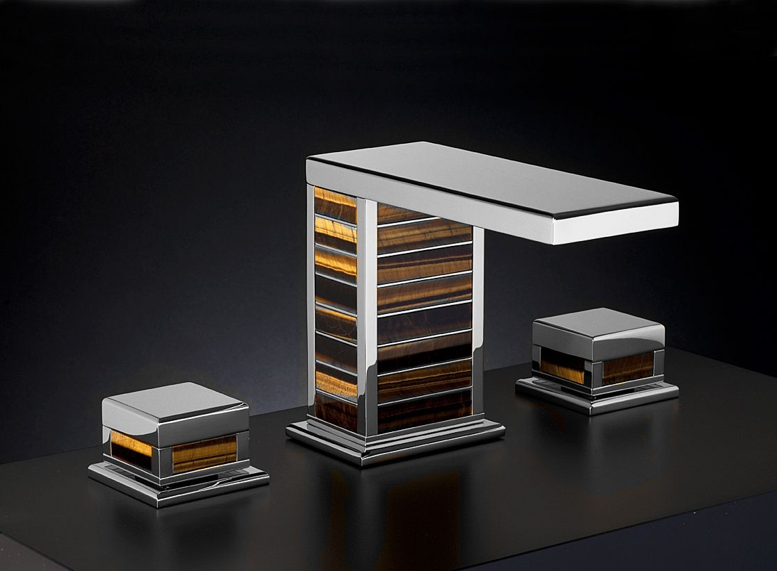 Square collection presented in chrome finish and with Tiger Eye ...