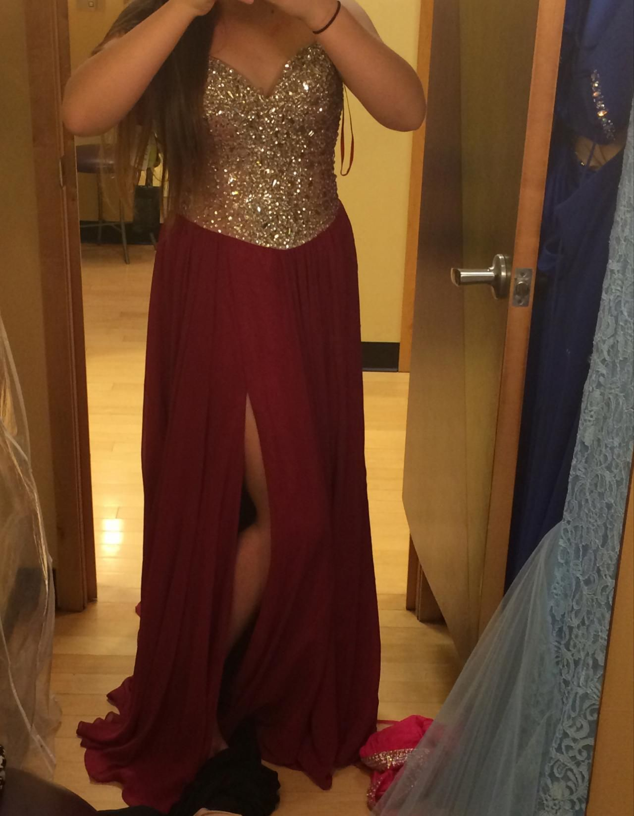Gold beaded prom dressesburgundy chiffon long formal dresses