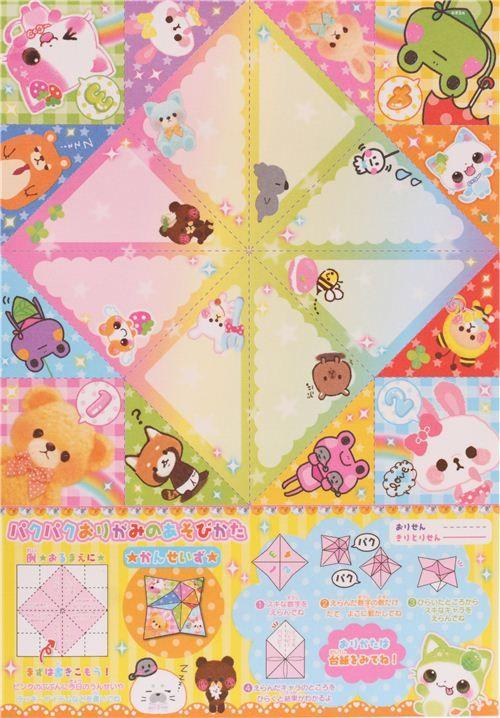 cute bear rabbit game Origami sticker glitter block Note Pad by Q-Lia 5