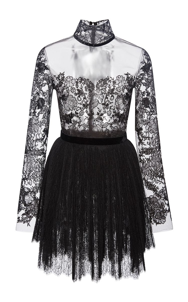 Long Sleeve Embroidered Lace Illusion Dress by Reem Acra for Preorder on Moda Operandi