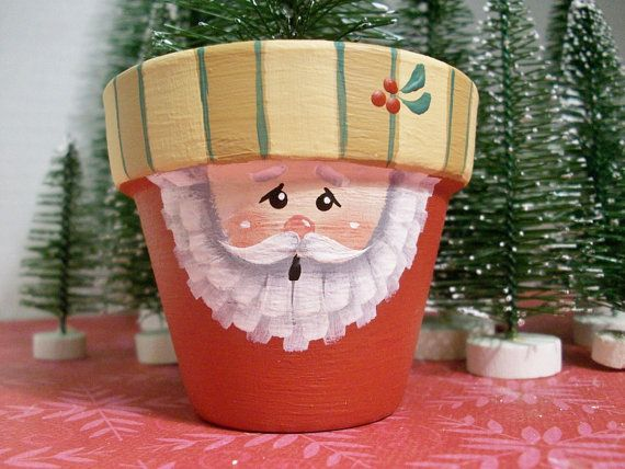 Small hand painted clay pot santa christmas decoration
