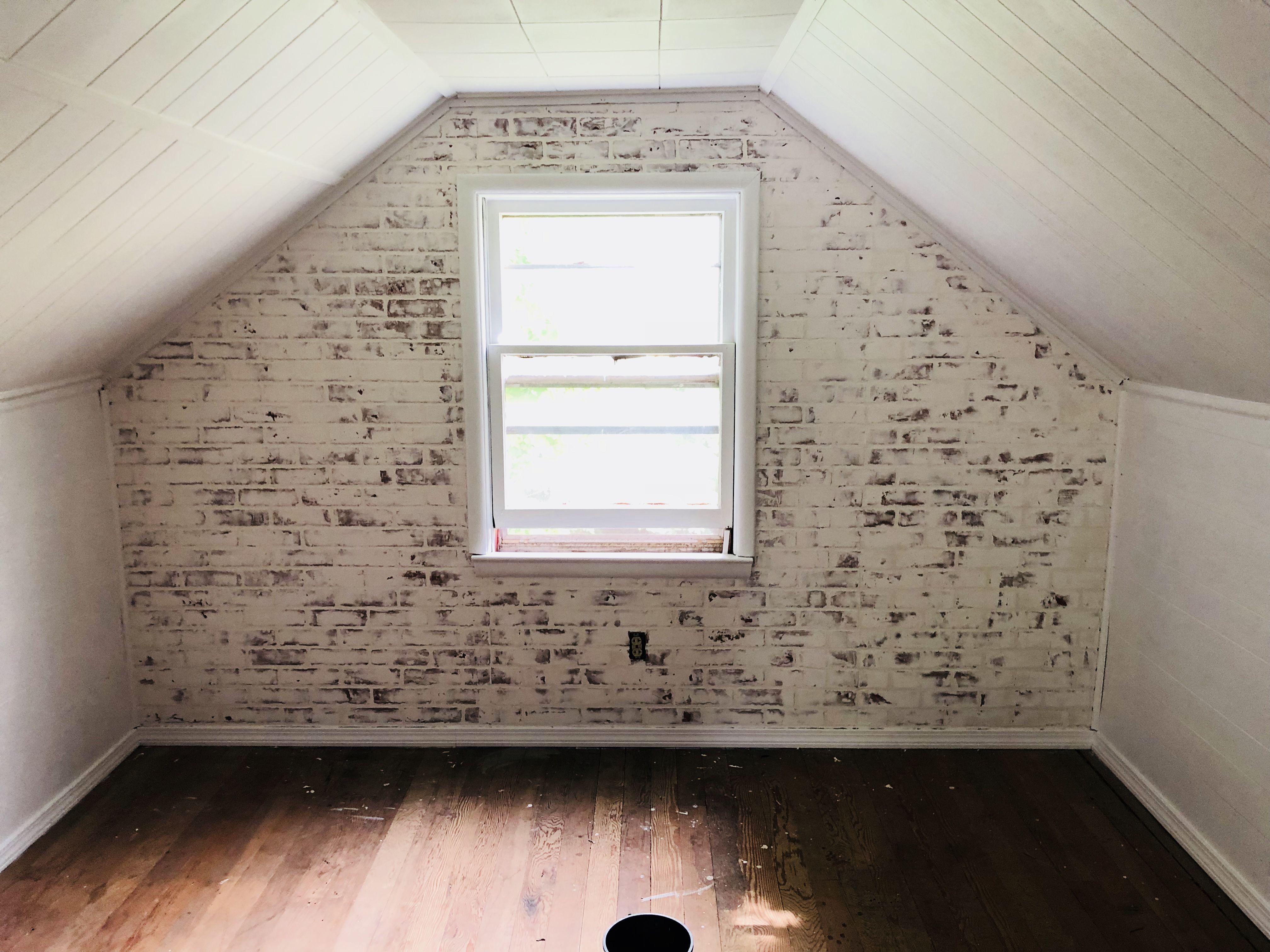 Accent Wall Whitewash Brick Paneling Brick Bedroom Brick