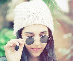 knit hat & sunglasses
