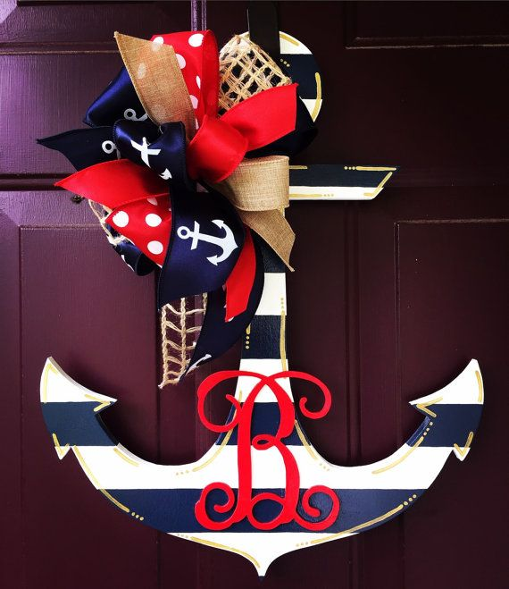 Nautical Navy Striped Door Hand Painted by BeccasFrontDoorDecor & Patriotic anchor door hanger made by Signs of the South. | My Door ... Pezcame.Com
