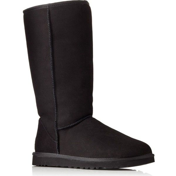 UGG Classic Tall sheepskin boots ($305) ❤ liked on Polyvore featuring shoes, boots, black, black pull on boots, slip on boots, black boots, round toe boots and black slip on shoes