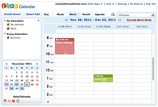Zoho Free Online Appointment Scheduling Calendar Application Look