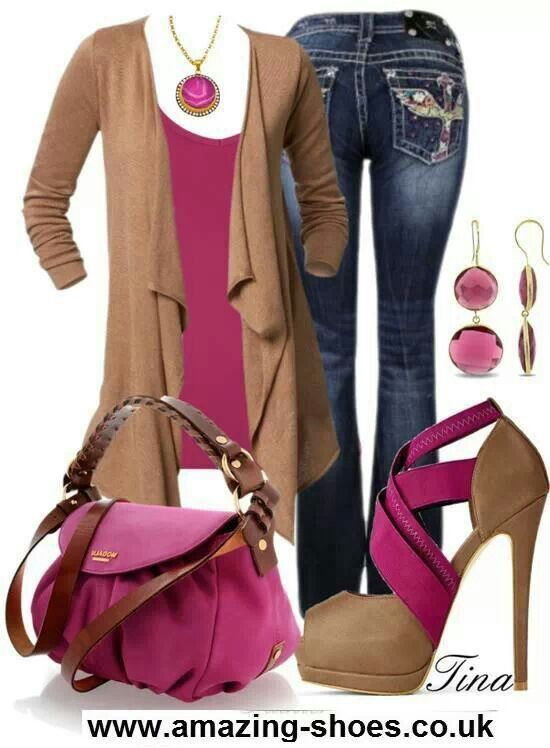 Jeans. Pink Brown outfit