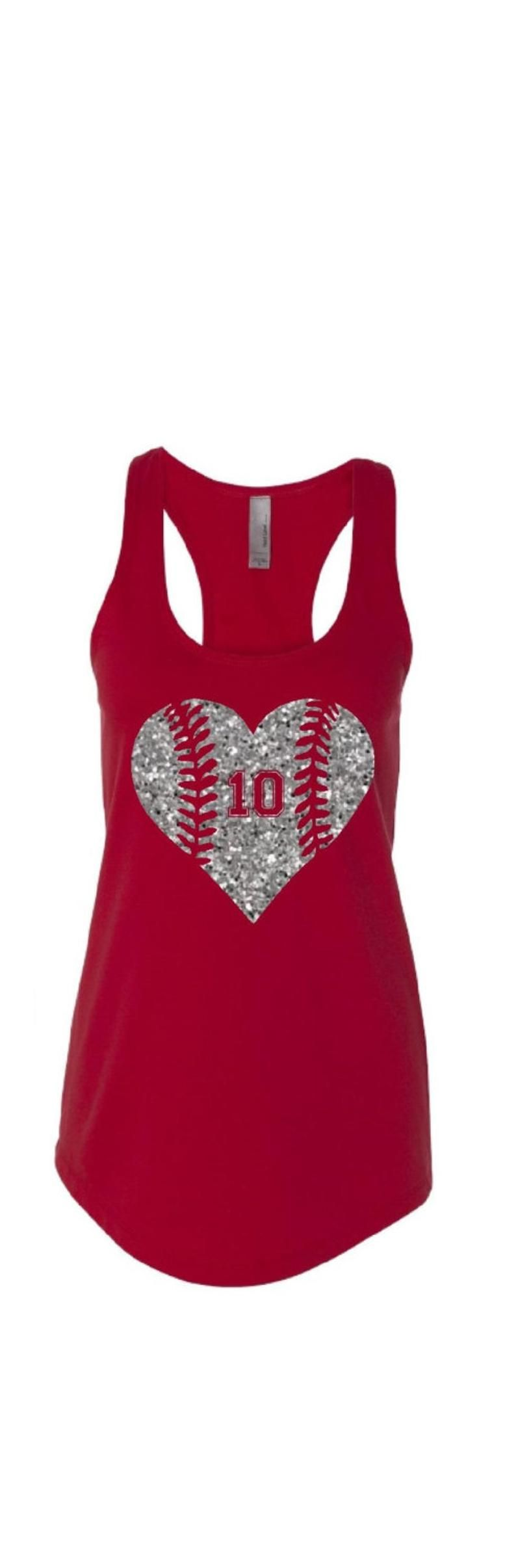 Photo of Baseball Heart Tank. Softball Mom. Baseball Mom Tanks. Mom Baseball Tanks. Glitter Baseball.  Add custom number to notes to seller.