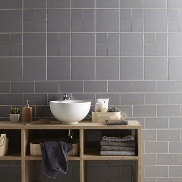 Carrelage mural Astuce mat en faïence, gris galet n°3, 20 x 20 cm - salle de bain carrelage gris et blanc