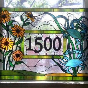 Stained Glass Window - Crabs And Black Eyed Susans - Transom by