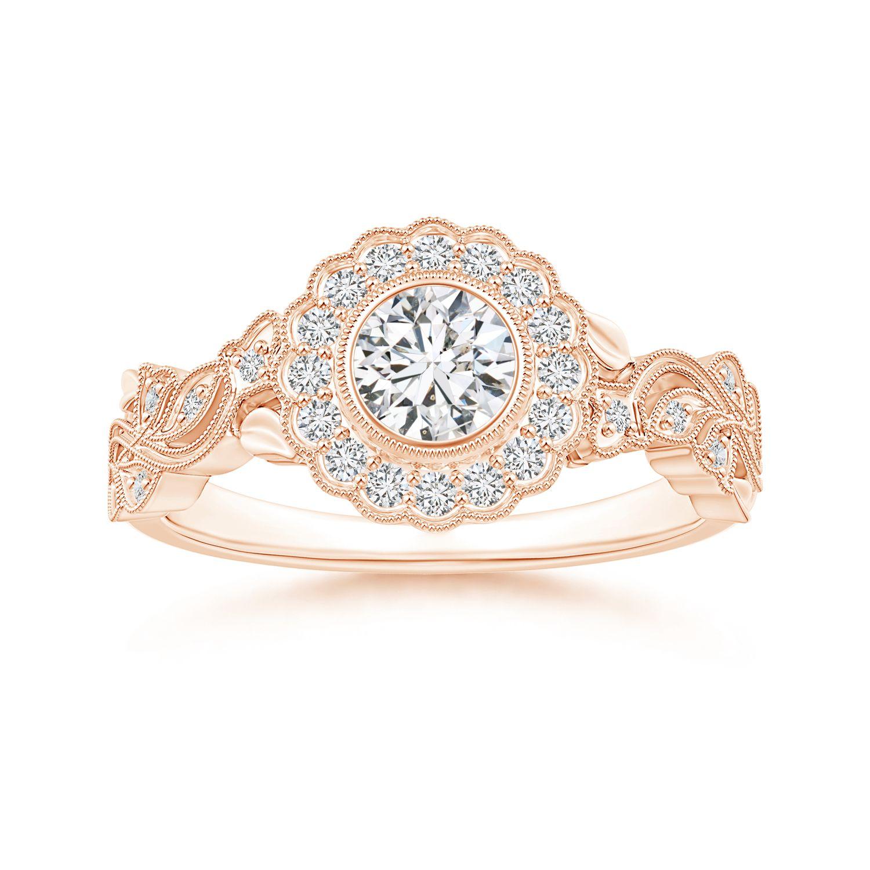 Angara Bezel Set Round Diamond Engagement Ring with Floral Halo xNMAsvEBn