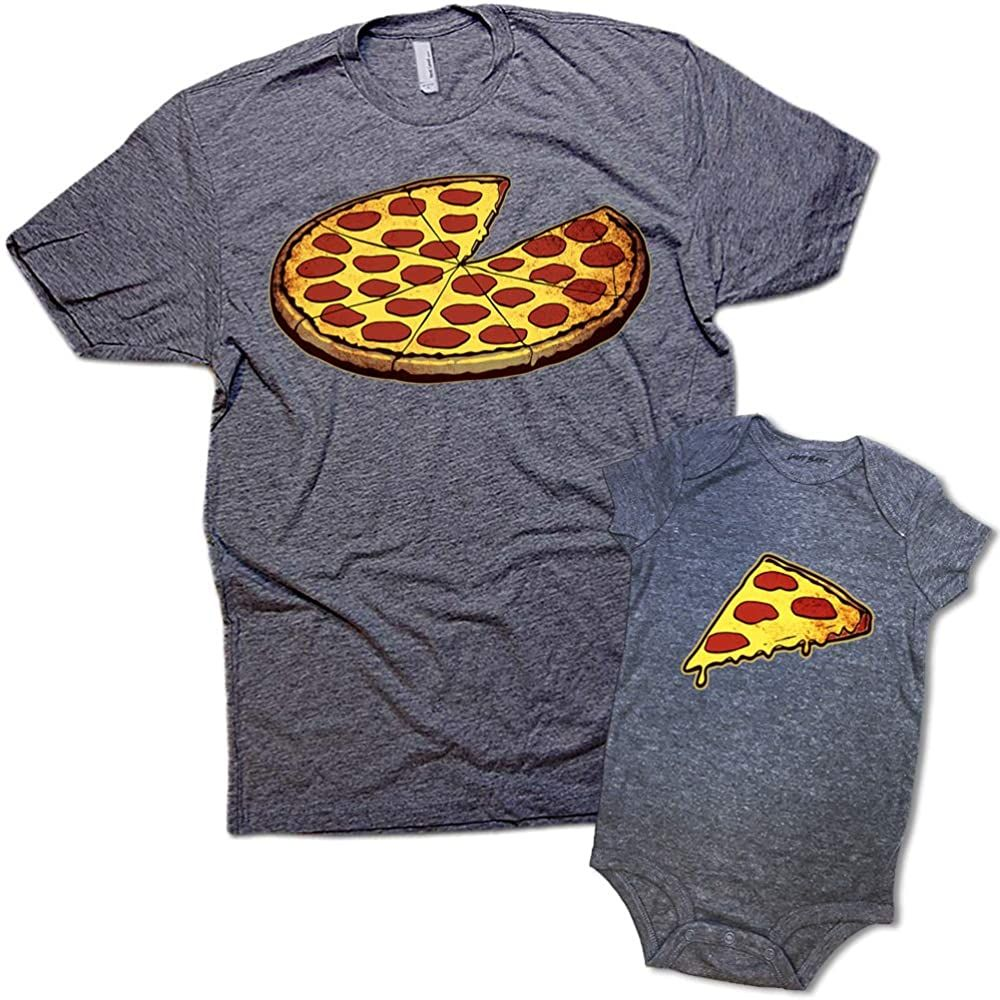 Funny Pizza Pie /& Slice Dad /& Baby Matching Clothing Shirt Set Shower Gift
