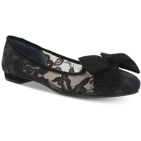 Nina Wisdom Bow-Tie Evening Flats ($89) ❤ liked on Polyvore featuring shoes, flats, black lace, kohl shoes, nina shoes, evening flats, holiday shoes and flat shoes
