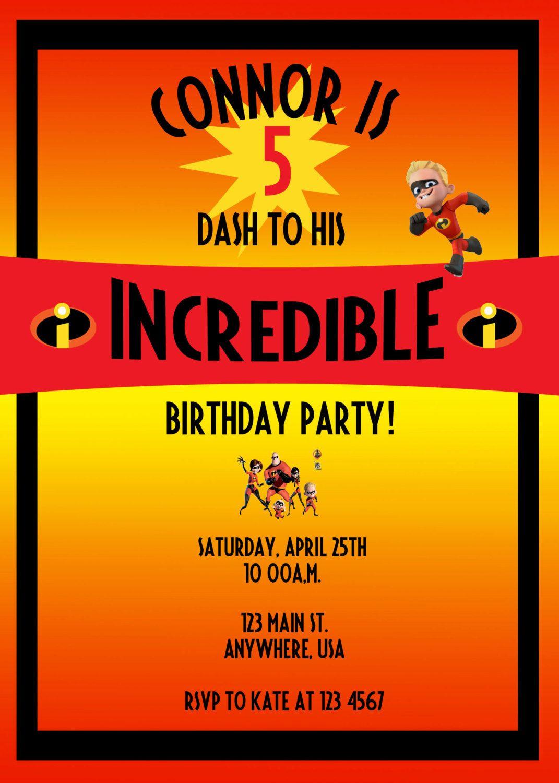 The Incredibles birthday invitation, dash, violet, jack jack, orange ...