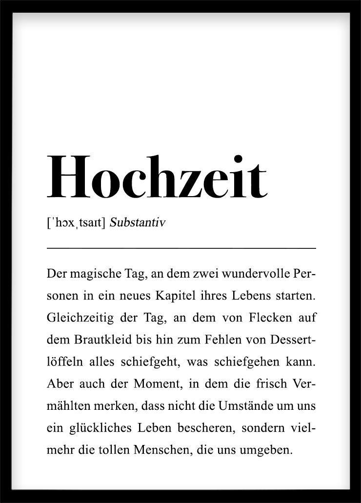 """Hochzeit Definition Plakat DIN Hochzeitsgeschenk: Poster mit Spruch, Mitbringsel Hochzeitsgast, Verlobung, Schwarz This is a German definition of the word """"wedding""""."""