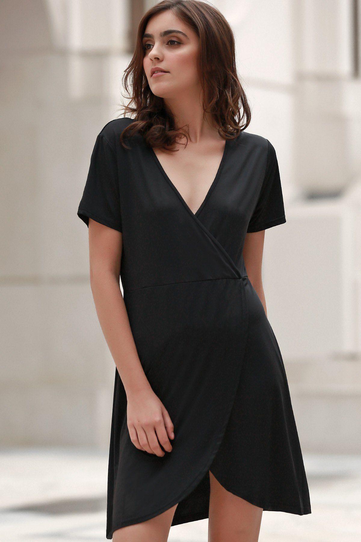 613386d3912 ... Short Sleeve Dress Black L. Solid Color Irregular Hem V Neck Tulip Dress  Fashion Dresses