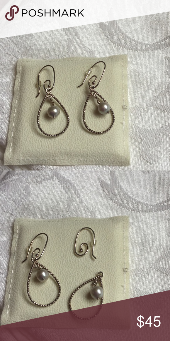 120aa577f Authentic Pandora earrings with pearls Retired Beautiful Pandora earring  with interchangeable charms. Pearl is a light gray color. Sterling silver.
