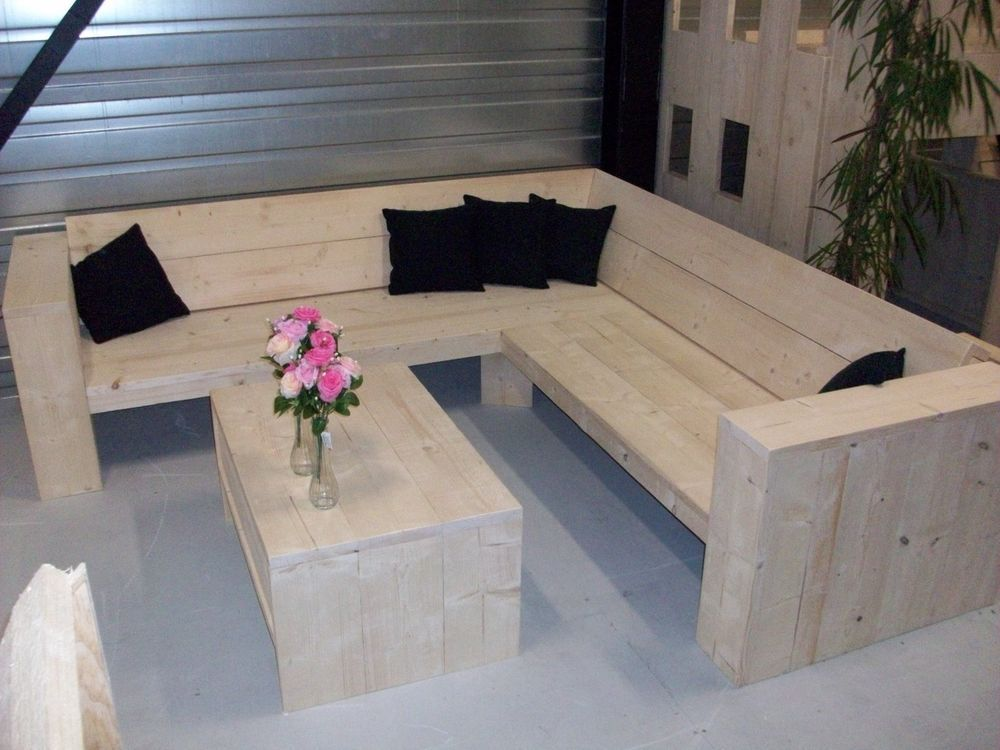 scaffold board furniture diy package for a big corner lounge garden sofa gartenmoebel haus. Black Bedroom Furniture Sets. Home Design Ideas