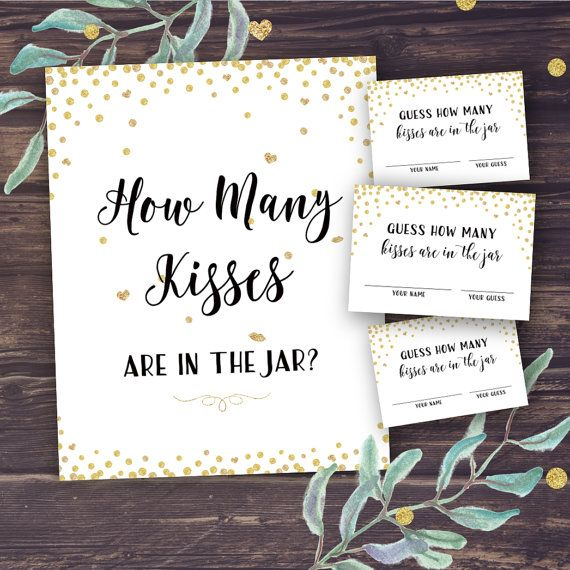 Guess How Many Kisses Bridal Shower Printable Por Pineledesignco