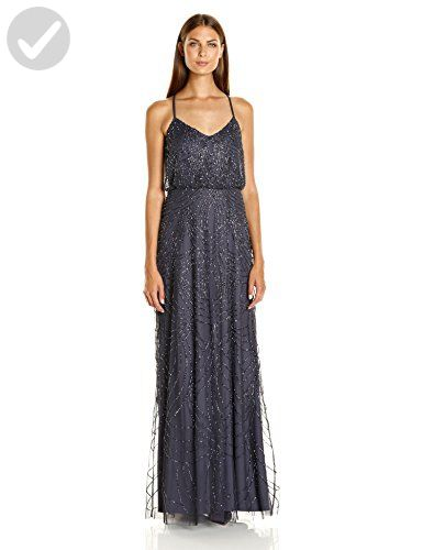 3ab36c2166 Adrianna Papell Women s Beaded Blouson Gown with Spaghetti Straps ...