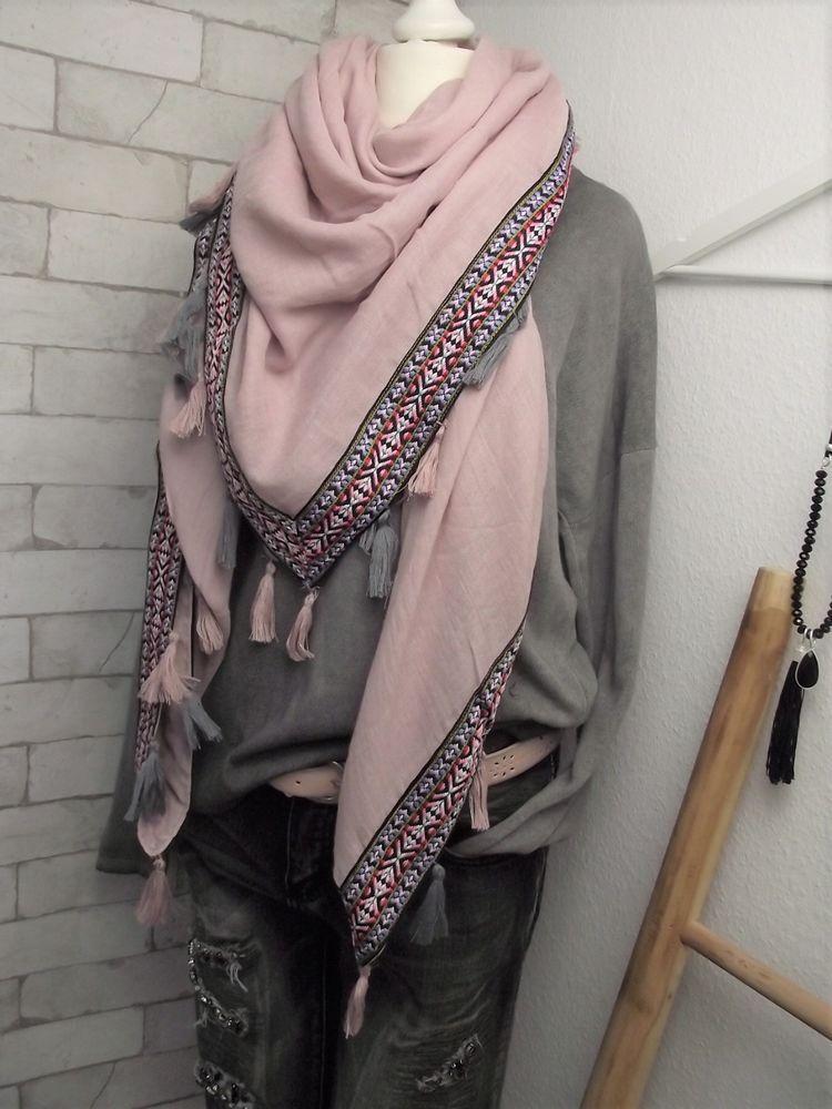 Neu Xxl Vierecktuch Ethno Schal Rosa Bordure Rosa Bunt Quasten Cm 140 X 140 Cm Schals Kleidung Accessoires Quasten