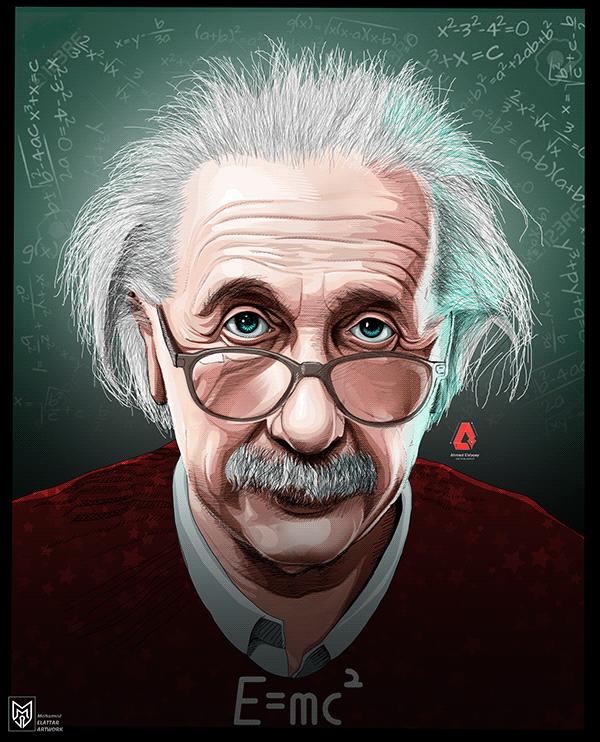 Albert Einstein Vector Art On Behance Vector Art Art Science Art