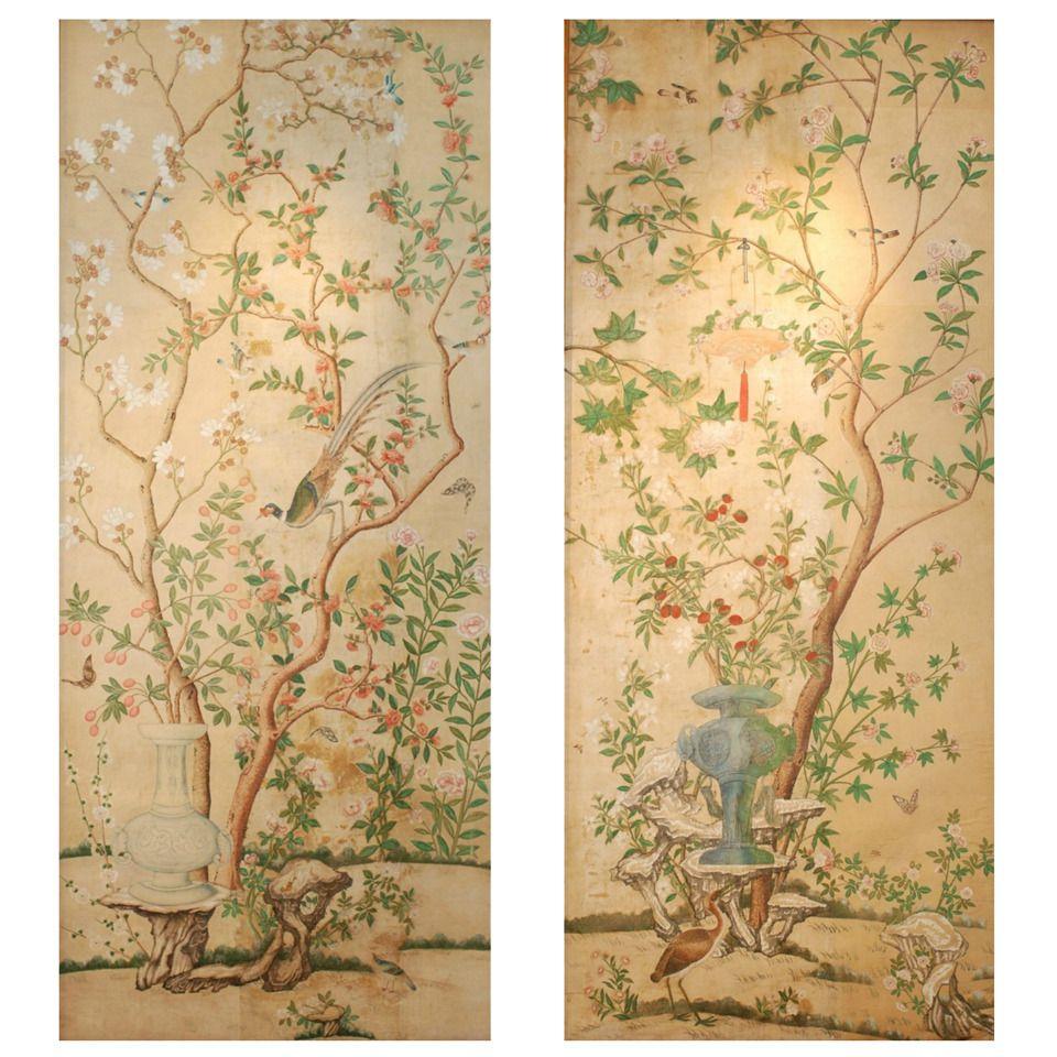 Set of Three Impressive Italian Wallpaper Panels, 18th Century ...